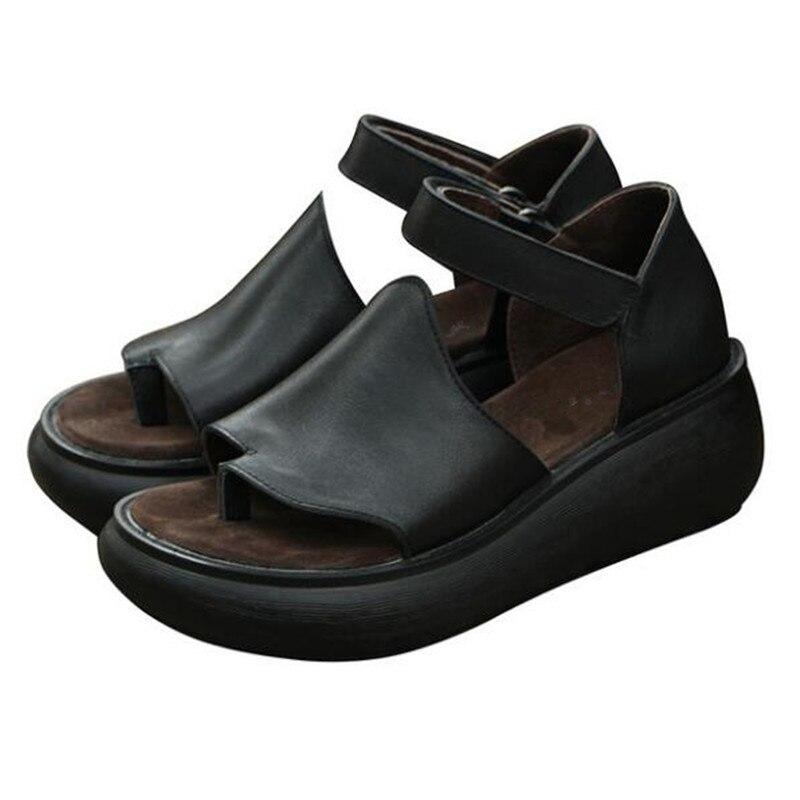100 Natural Full Real Leather Flip Flops Sandals Loose Comfort Increase Platform Wedges Sandals 2019 New