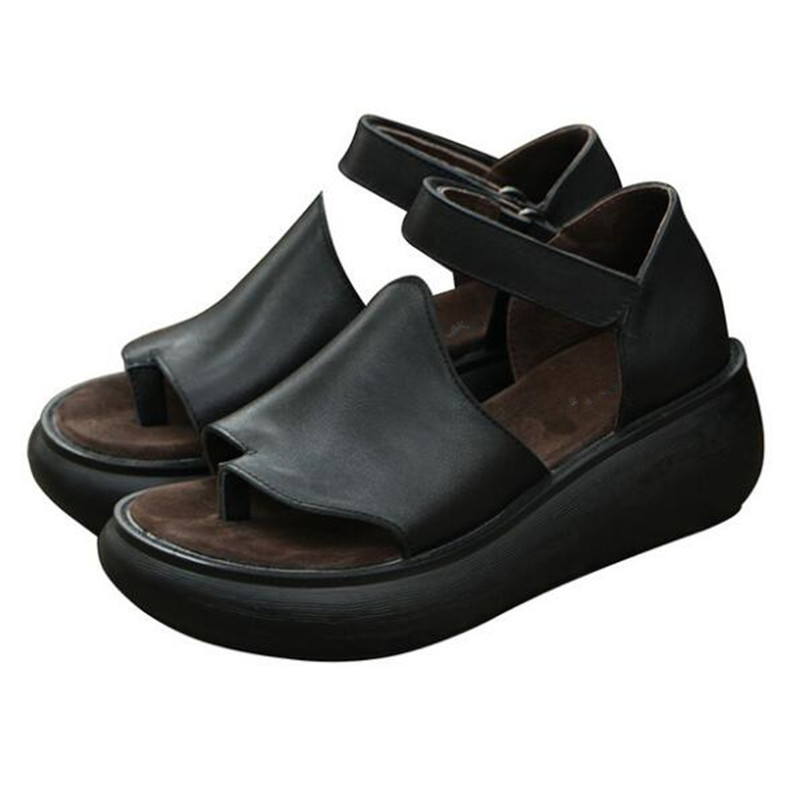 100% naturalne pełne prawdziwe skórzane klapki sandały luźne komfort zwiększyć sandały na koturnie z wysokim obcasem 2019 nowy lato kobiety sandały w Sandały damskie od Buty na  Grupa 1