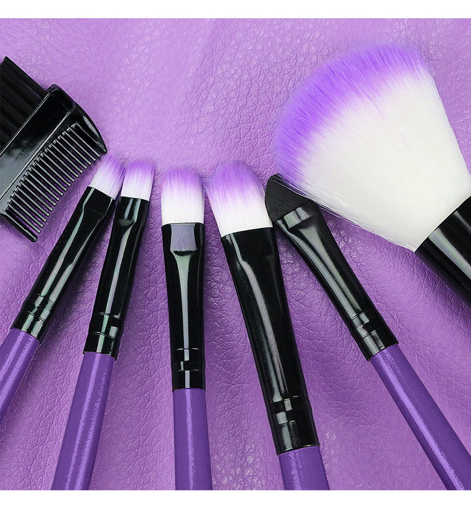 O.TWO.O Makeup Brushes Set 7pcs/lot Soft Synthetic Hair Blush Eyeshadow Lips Make Up Brush With Leather Case For Beginner Brush 26