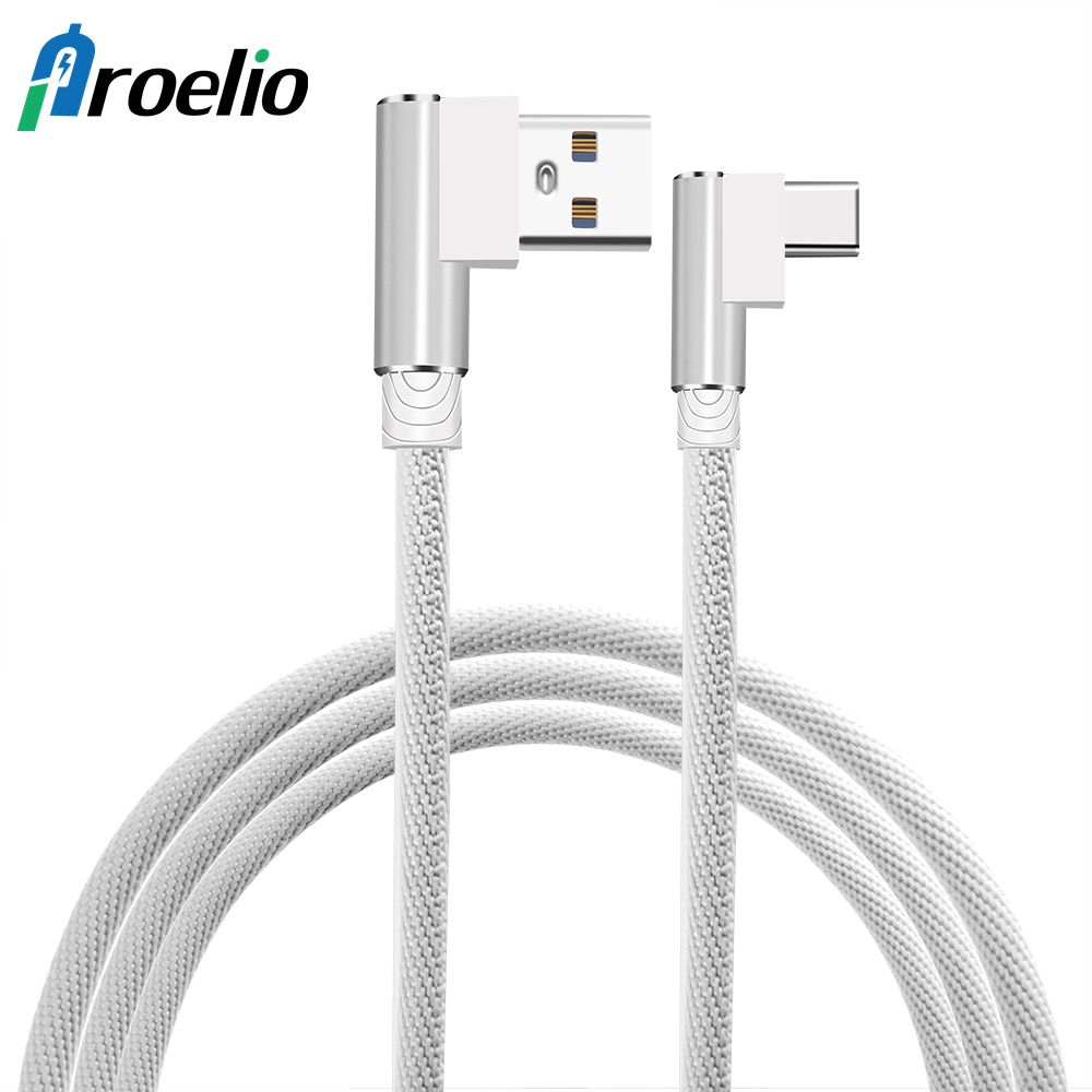 USB Type C Cable for Samsung Galaxy S8 Xiaomi Redmi Note 4X 90 Degree Reversible Braided Type-C Data Charge Cable for Oneplus 5T
