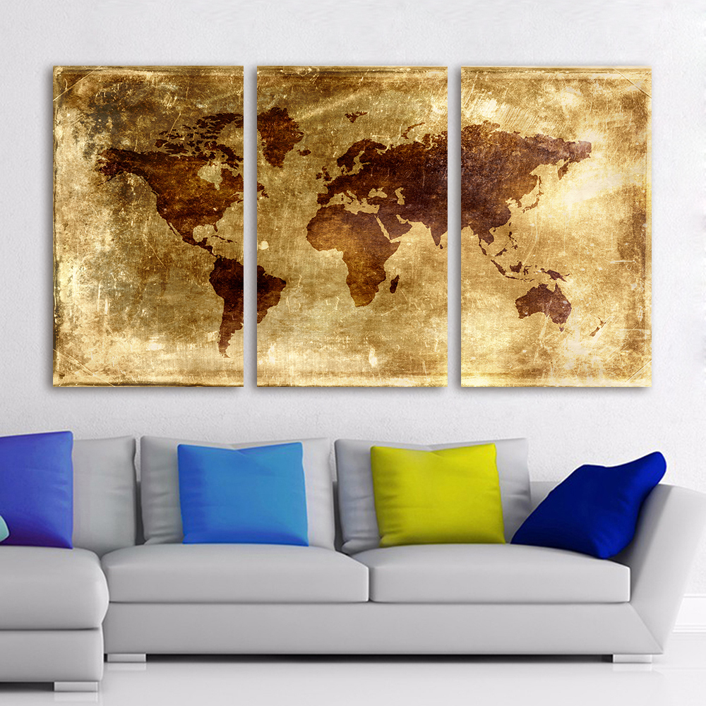 HDARTISAN 3 Pieces World Map Canvas Art Modern Painting Old style ...