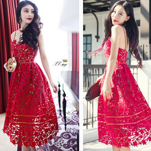 2016 New Handmade White/Red Sexy Deep V-neck Flower Lace Dress Runway Elegant Dresses Hollow Out Long Dress Shoulder-Straps