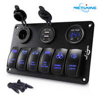 MICTUNING Car Accessories 6 Gang Rocker Switch Panel with DC 12V Cigarette Lighter Socket Dual USB Charger LED Digital Voltmeter