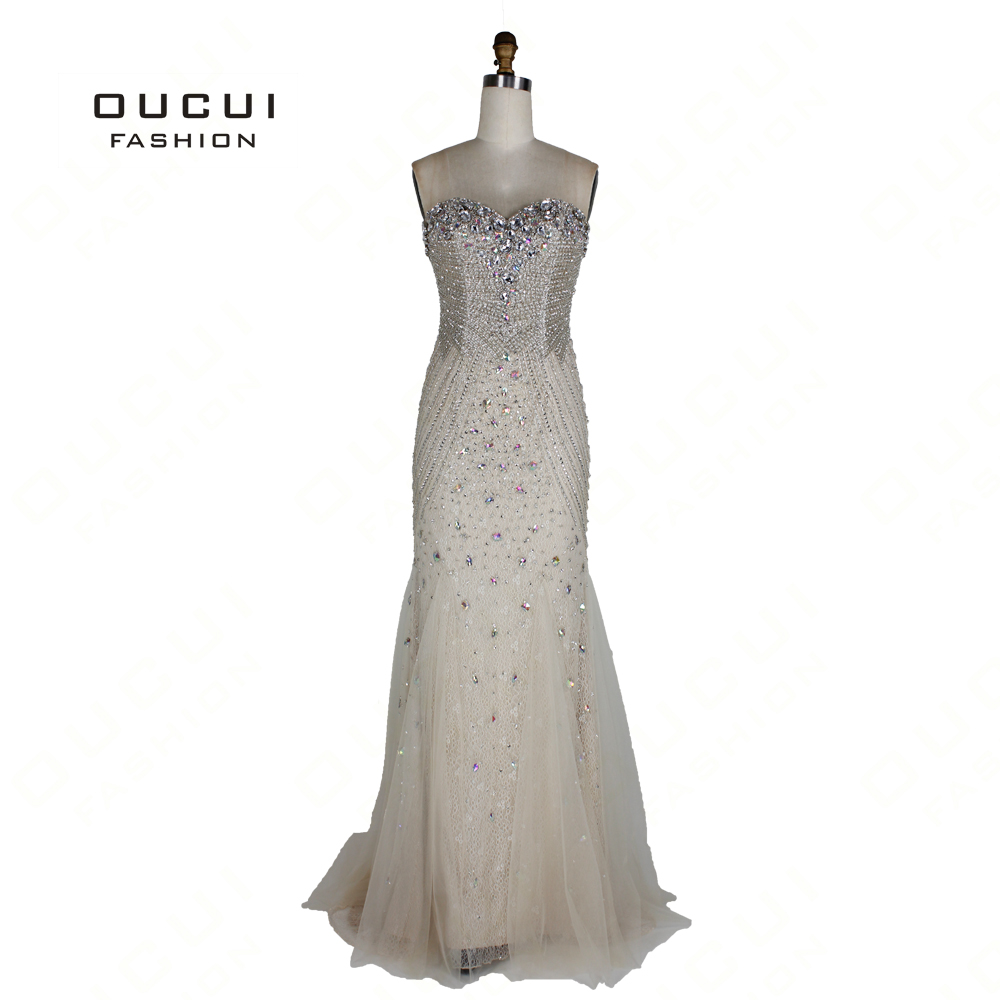 Oucui Sexy   Evening     Dress   Luxury Beading Sequined Bodice Tiered Mermaid   Dresses   Long 2019 Sweetheart Party Gowns Robe OL102709