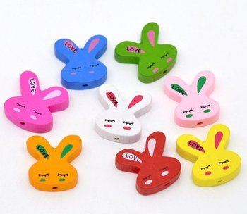 20*20mm Assorted Colors Cute Rabbit Head Wood Spacer Beads Fashion Jewelry diy Findings For Girls Children Handmade Exercise