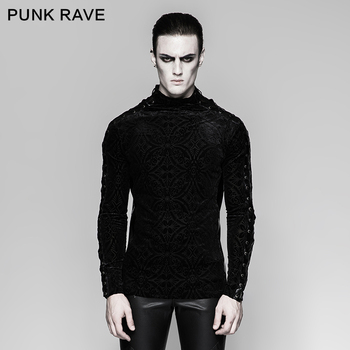 PUNK RAVE Men's Punk Rock Personality T-shirt Gothic fashion Long Sleeve Casual tops Men Personality Winter T-shirt