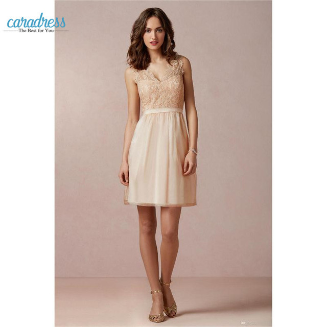 Elegant Short Champagne Bridesmaid Dresses