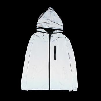 2020 men reflective windproof coat hip-hop hooded reflective suit