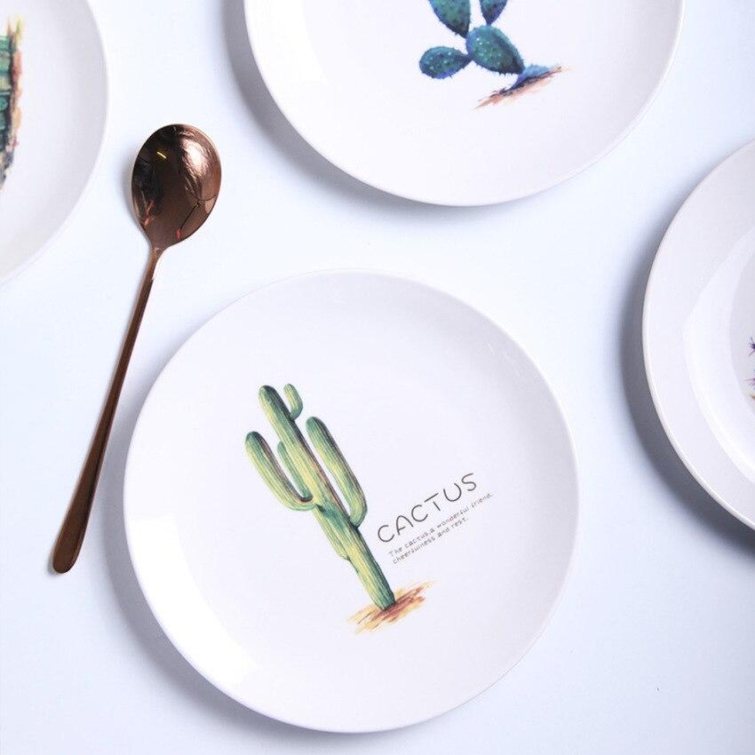 Ceramic Dessert Dish Nordic Cactus Dish Chic Salad Plate Household Tableware Dishes and Plates Sets Bone China Dinnerware