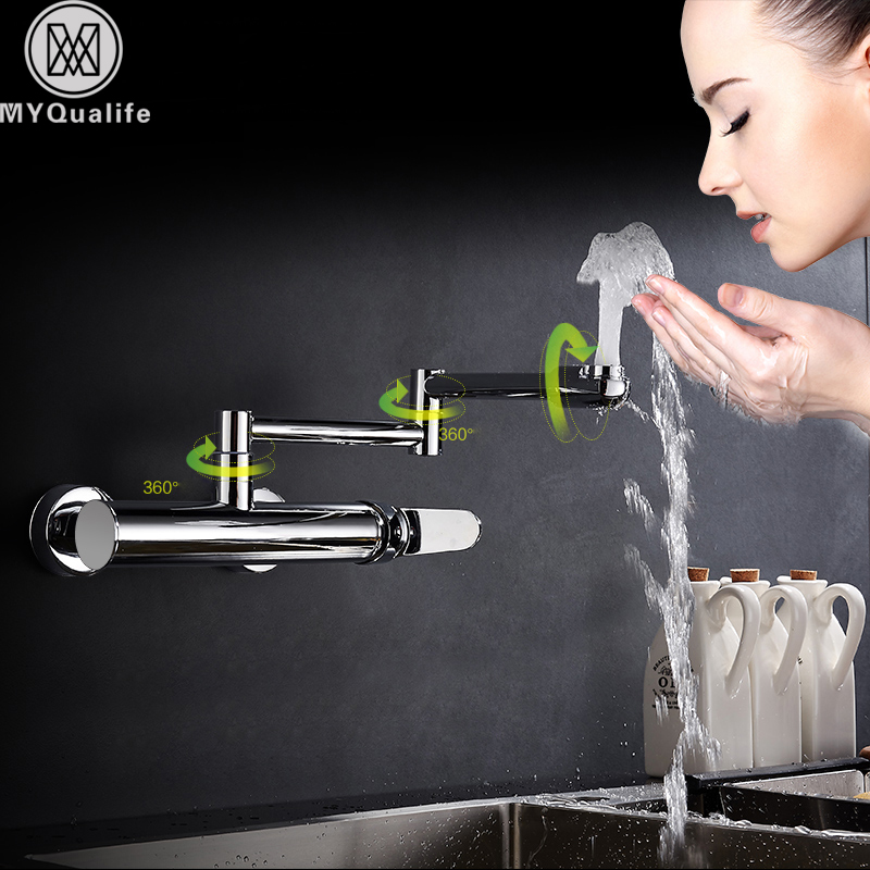 Wall Mount Folding Stretch Kitchen Sink Faucet Chrome Brass Hot Cold Water Mixer Tap One Handle Swivel Spout Washing Cock Crane led spout swivel spout kitchen faucet vessel sink mixer tap chrome finish solid brass free shipping hot sale