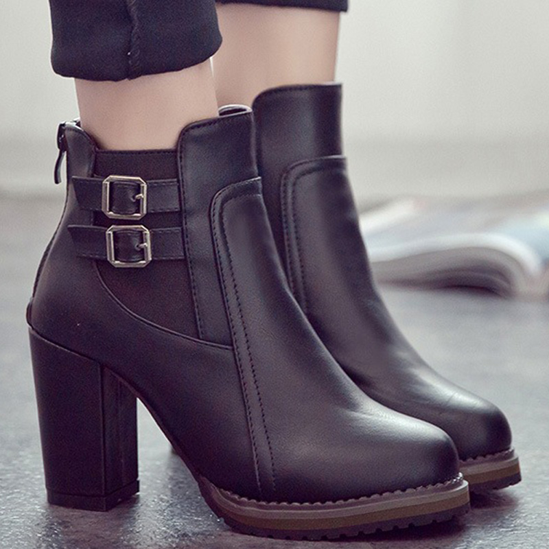 Women Ankle Boots 2019 Fashion PU Leather Boots High Heel Boots Female Winter Boots Women Boots Bota Women Booties Winter Shoes in Ankle Boots from Shoes