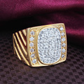 Hot Sale New Fashion Fine Jewelry AAA Zircon Men's Ring  Yellow Gold Filled Ring for Men Size 6\7\8\9
