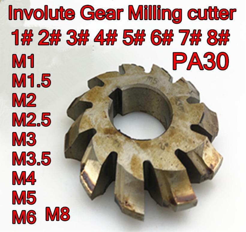 M1 M1.25 M1.5 M1.75 M2 M2.5 M3 M3.5 M4 M5 M6 M8 PA30 HSS Involute Gear Milling Cutter Free Shipping