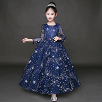 Fashion Full Sleeves Girls Evening Dresses Star Print Girls Wedding Dresses Summer 2017 New Ankle Length Ball Gown Clothes P31