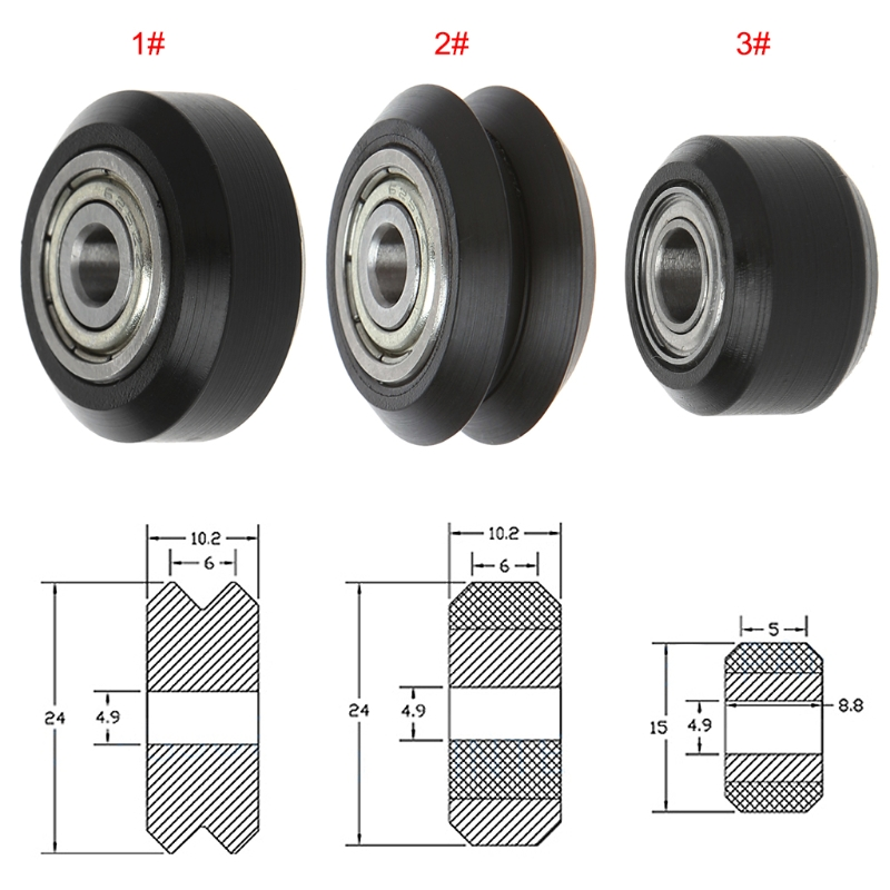 POM Plastic Wheel With <font><b>625zz</b></font> MR105zz Idler Pulley Gear Passive Perlin Wheel V-Slot Type For 3D Printer image