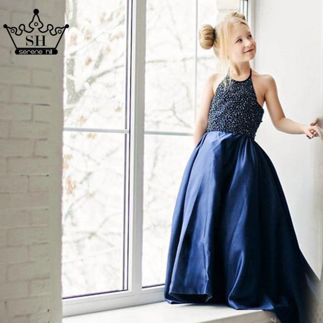 757bb1a167d Dark Blue Sleeveless Flower Girl Dresses Beading Pearls Satin New Stlye  First Communion Dresses For Girls 2019 Serene Hill