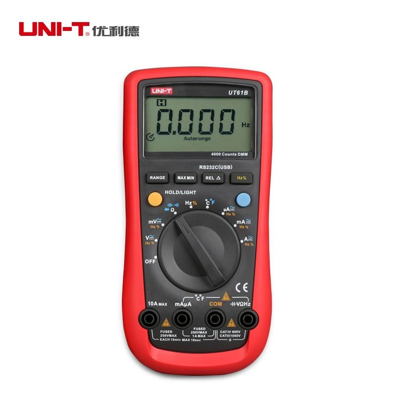 UNI-T UT61B Современные Цифровые мультиметры AC/DC Напряжение ток C/F Температура тестер поддерживает RS-232 и кабель USB