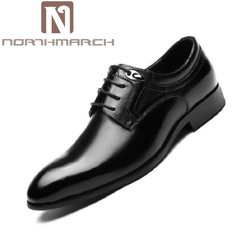 NORTHMARCH Business Men Dress Shoes Genuine Leather Lace-Up Oxfords Shoes Top Quality Flats For Male Zapato Hombre Italiano high quality genuine leather men shoes lace up casual shoes handmade driving shoes flats loafers for men oxfords shoes