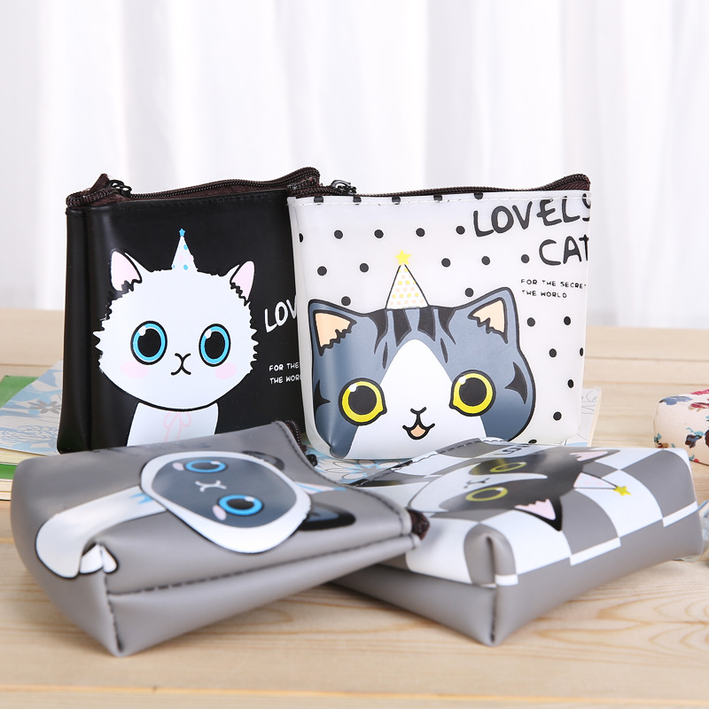2pcs New  Coin Purse Cartoon Cute  Waterproof PU Leather Package Headset Bag Mini Handbag Money key bag