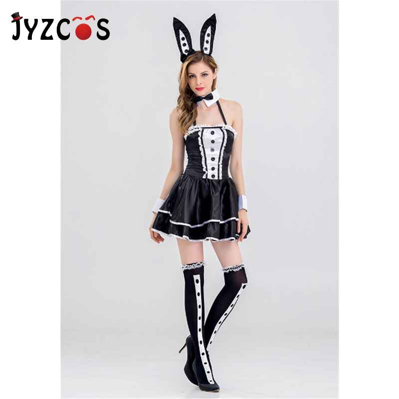 JYZCOS Women Sexy Bunny Girl Costume Nightclub DS Bar Attendant Outfit Party Bunny Cosplay Costume