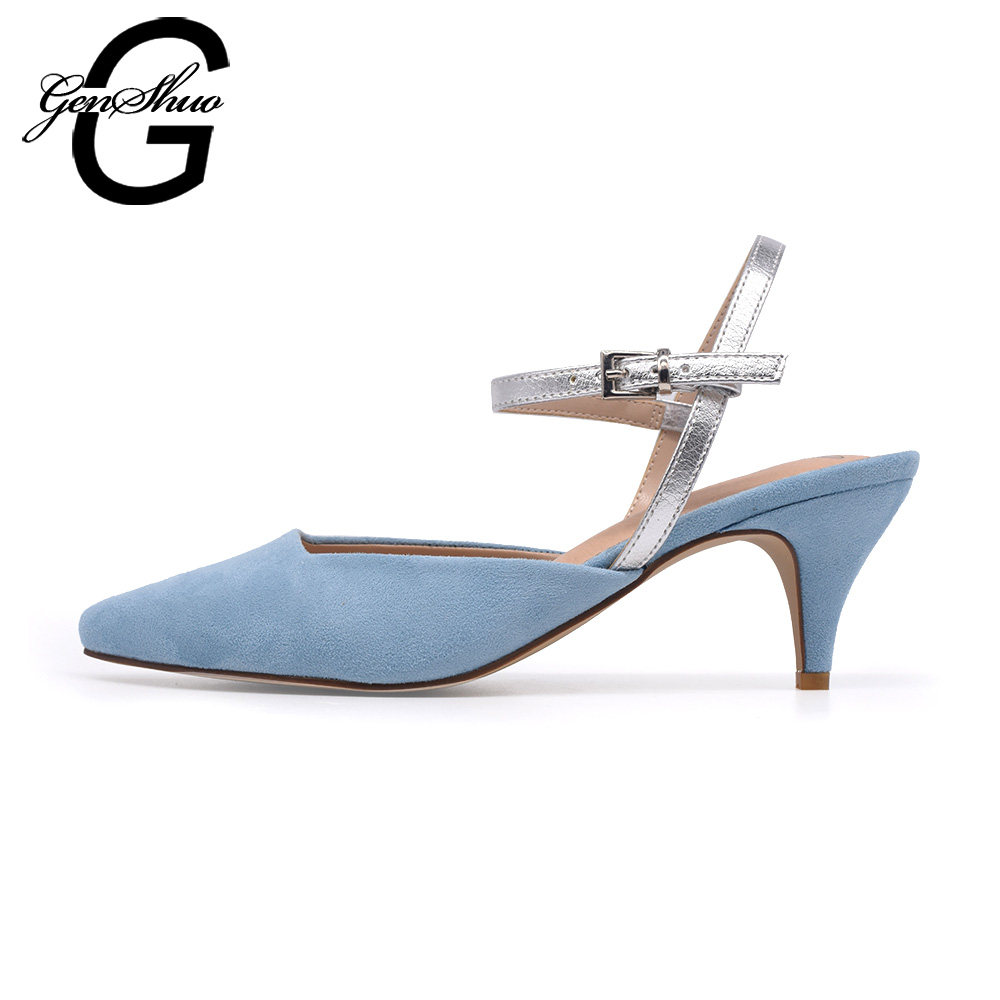 f806ffd636 GENSHUO Slingback Mid Heels Suede Pointed Toe Stiletto Sky Blue Party Pumps  Strap Ladies Kitten Heels