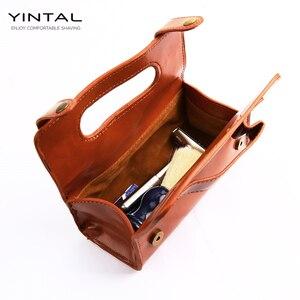 Image 3 - YINTAL manuel tıraş bıçağı taşınabilir tıraş fırça seyahat deri çanta çift kenarlı güvenlik jilet kutusu (sadece 1 kutu)