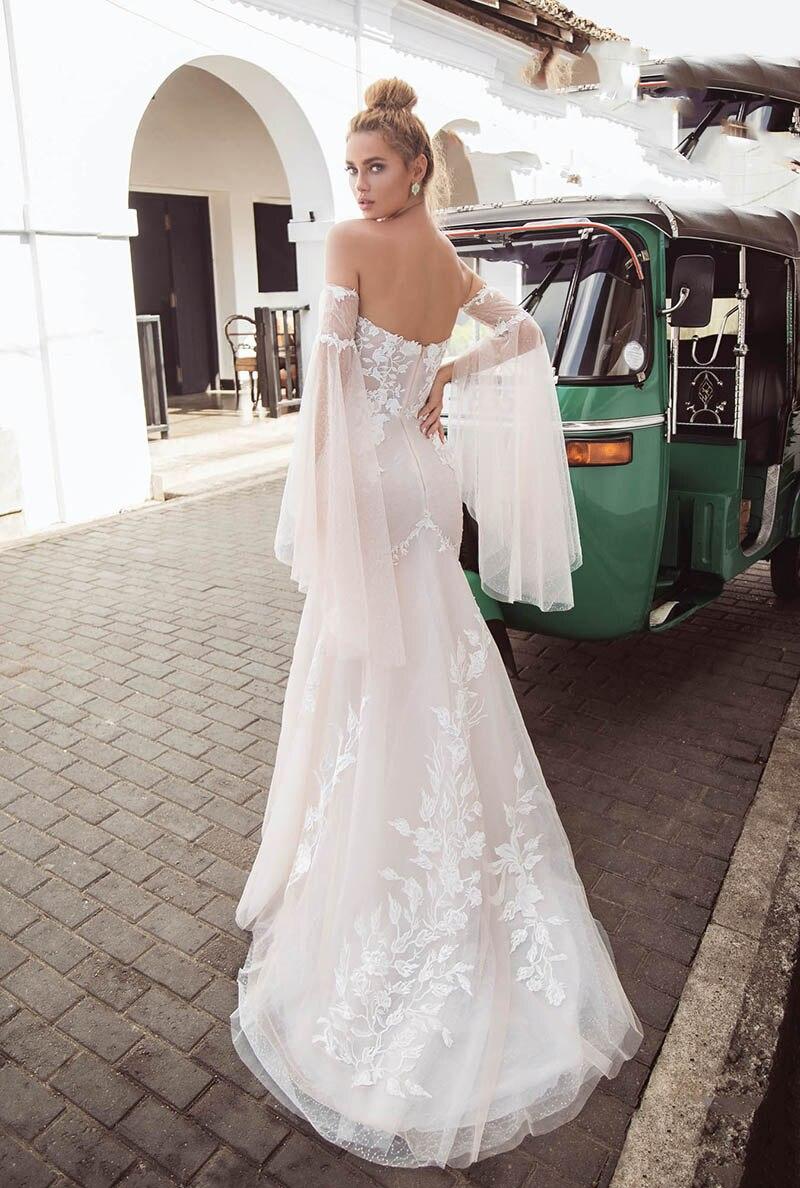 Bretelles Spaghetti plage robe De mariée Lorie 2019 dentelle Appliques Illusion Boho robes De mariée Vestido De Novia robes De mariée - 5