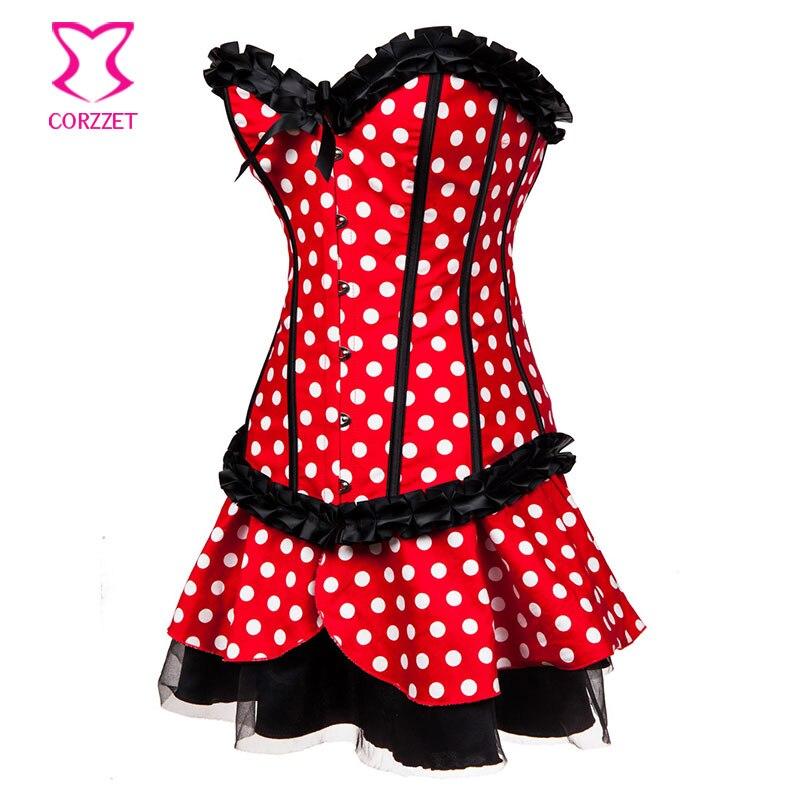 Lolita Rojo / Blanco Polka Dot Fancy Corset Dress Mouse Mascota Anime - Disfraces - foto 4