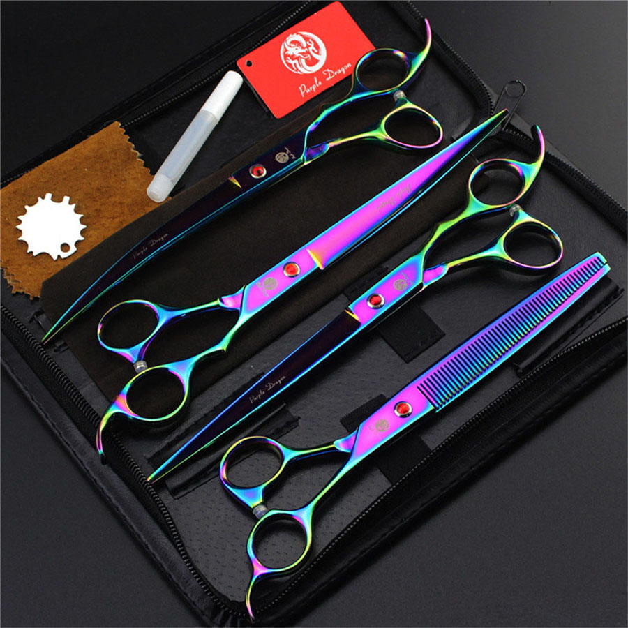 Professional Pet Grooming Scissors sets 8 0 inch Straight Thinning Curved scissors 4pcs 3pcs set for