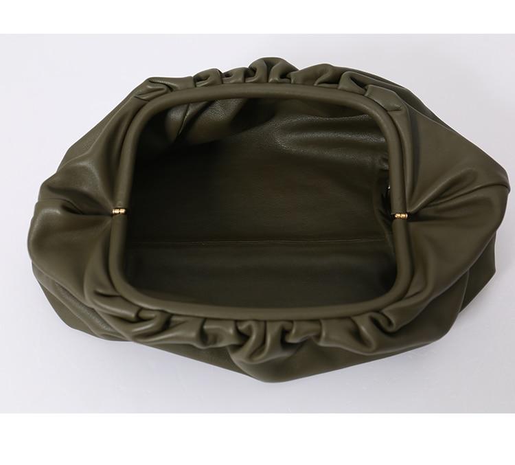 Pochette de jour sac à main de soirée sac à main femmes grand grand sac à oreiller froncé sac à main en cuir sac d'été 2019 blanc noir vert - 2