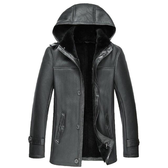 Mens Fur Coat Men's Shearling Coat Genuine Leather Parka Sheepskin ...