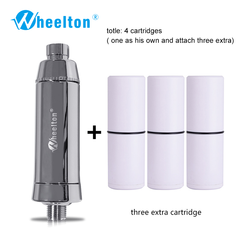 Wheelton SPA Mandi Buang Penapis Air Klorin Penulen Pancuran Penapisan Air Lembut Air Tambahan 3 Cartridge