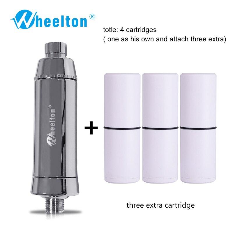 Wheelton SPA Remover O Cloro Filtro Purificador de Água de Banho Chuveiro Filtração de Água Macia Anexar Extra 3 Cartuchos