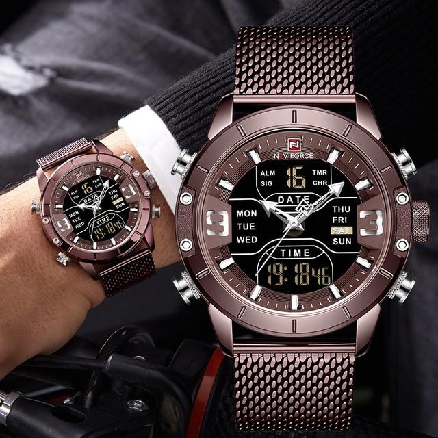 Naviforce relógios masculinos, relógios analógicos digitais de aço inoxidável à prova dágua para homens, relógio esportivo 2019