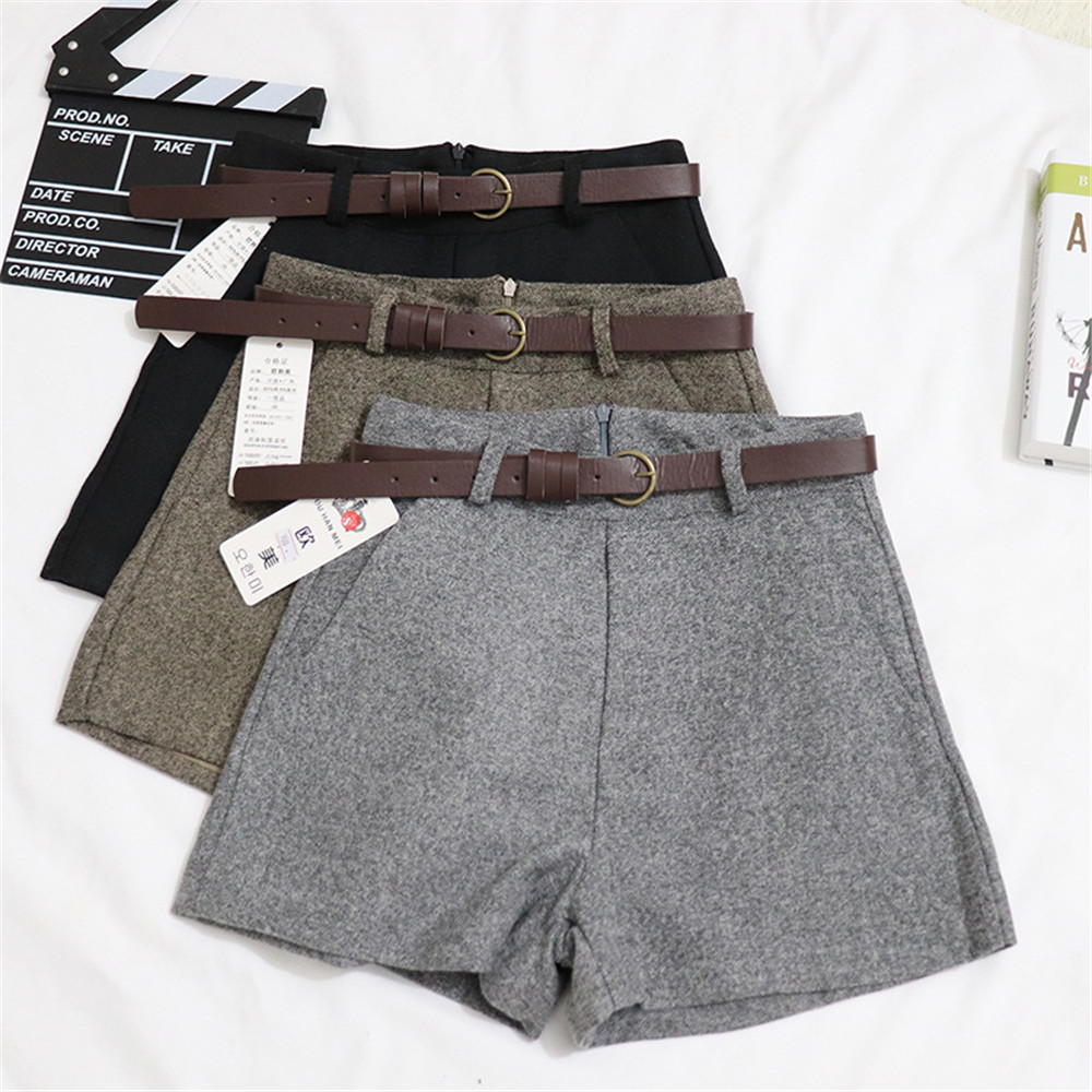 2019 Summer High Waist Shorts Women Thick with Sashes Wide Leg Shorts Female Gray Black Casual Zip Bottoms A Line Short Shorts Price $18.39