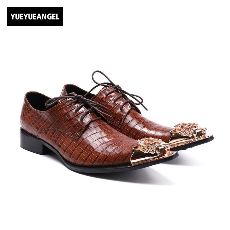 British Vintage Brown Genuine Leather Shoes Men New Metal Toe Wedding Party Formal Male Heel Lace Up Business Work Dress Shoes men s genuine leather pointed toe shoes lace up business dress shoes men british style party wedding fashion buckle high heels