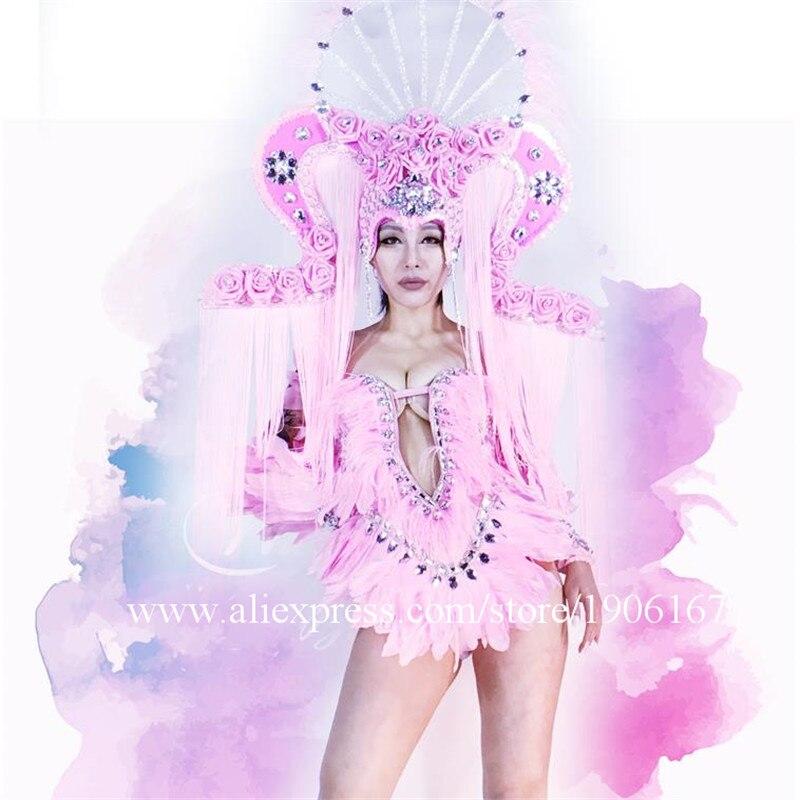 Rose couleur mode Cool nouvelles Sexy danseur chanteur Costumes fille dame femmes vêtements populaire scène danse Performance accessoires