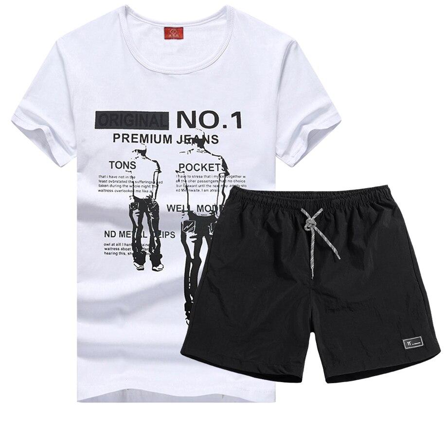 Varsanol Sets Men Causal Print T-shirts Men O-Neck Tops Cool Mens Shorts Polyester Short Pants Tracksuit For Men 2 Pieces Set
