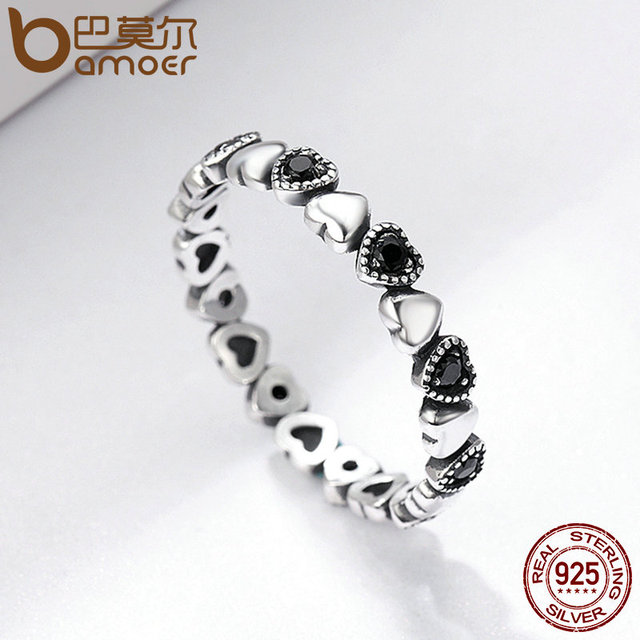 BAMOER Genuine 925 Sterling Silver Stackable Ring Heart Black CZ Finger Rings Wedding Anniversary Jewelry 5