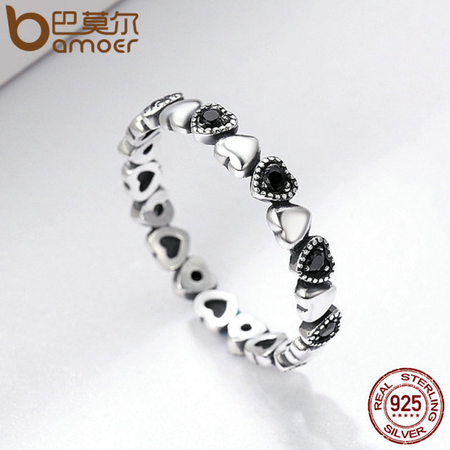 BAMOER Genuine 925 Sterling Silver Stackable Ring Heart Black CZ Finger Rings for Women Wedding Anniversary Jewelry Anel SCR140 4