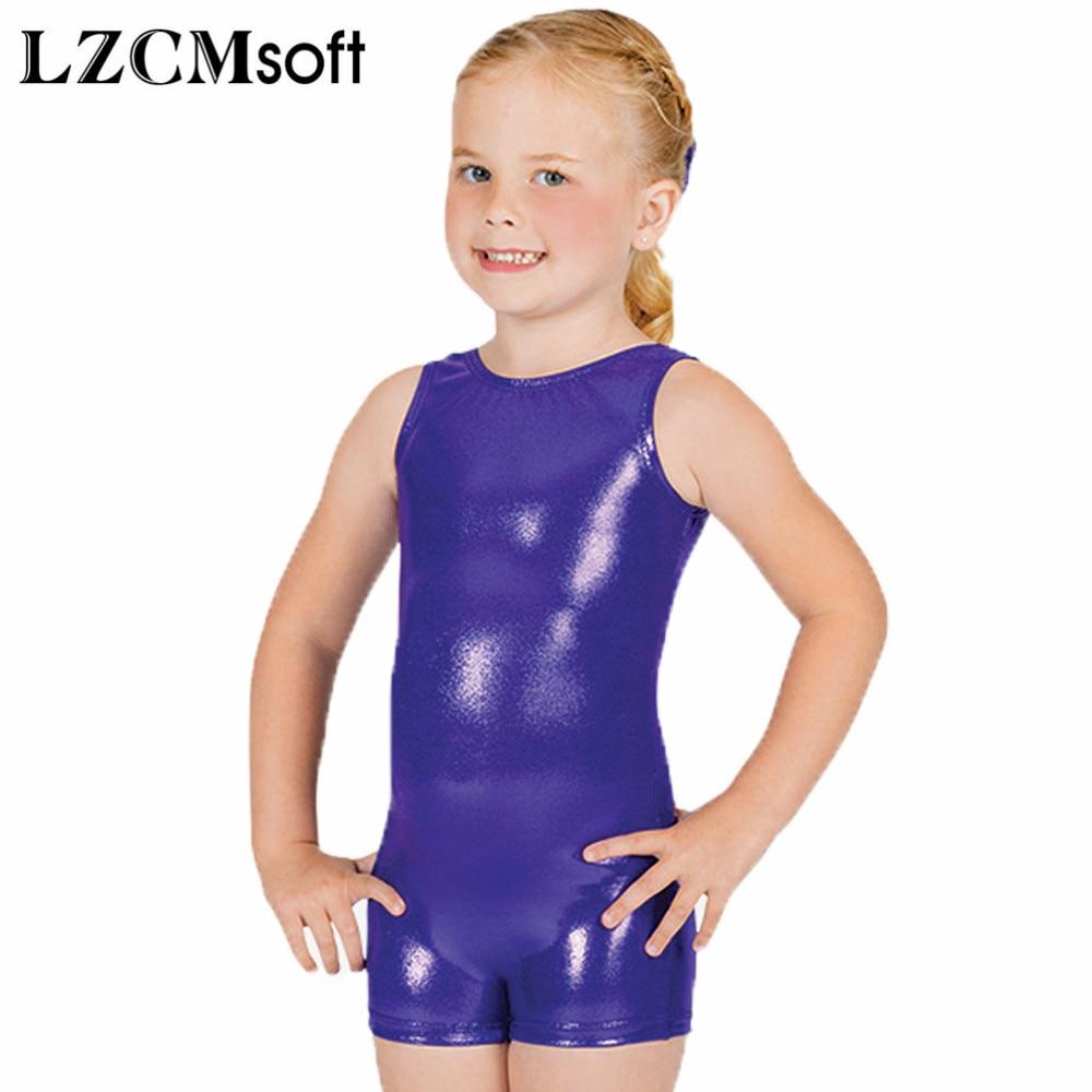 LZCMsoft Kids Tank Dance Unitards Metallic Shiny Wet Look