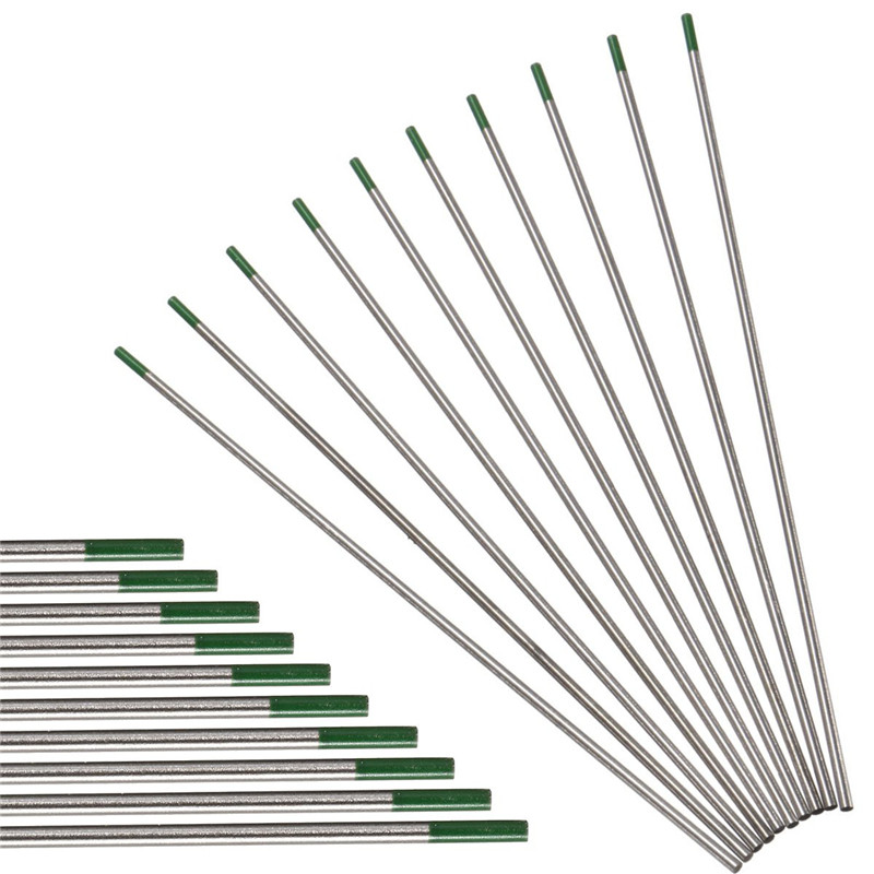 10PCS/set 2.4*175mm WP Green Tip Welding Tungsten Electrode Welding Rod Electrodes High Electron Escape Work for AC Welding 10 pcs tin tungsten electrode tungsten needle welding rods electrodes 0 04 1 16 4 51 3 32 1 8 x6 for welding machine