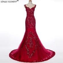 SINGLE ELEMENT Real Photo Custom Beaded Red Mermaid Formal Evening Dresses