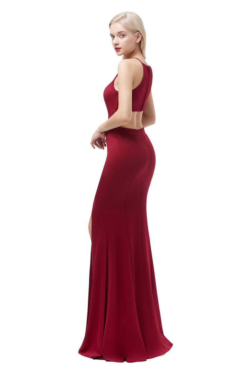 Купить винно красные сексуальные  вечерние платья из сатина длинные