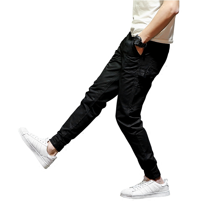 Fashion Designer Street Men Cropped Jeans Jogger Pants Classical Youth Denim Ankle Banded Pants Casual Leisure Jeans Cargo Pants fashion streetwear mens jeans blue color frayed hole ripped jeans men jogger pants slim fit leg open ankle banded jeans trousers