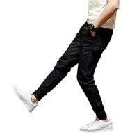 Moda Tasarımcısı Sokak Erkekler Kırpılmış Kot Jogger Pantolon Klasik Gençlik Kot Ayak Bileği Bantlı Pantolon Rahat Eğlence Kot Kargo Pantolon