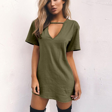 Multicolor Fashion Solid Color V-Neck Loose Pullover Blouse Plus Size V-neck Short Sleeve Triangle Hollow Halter T-Shirt Dress