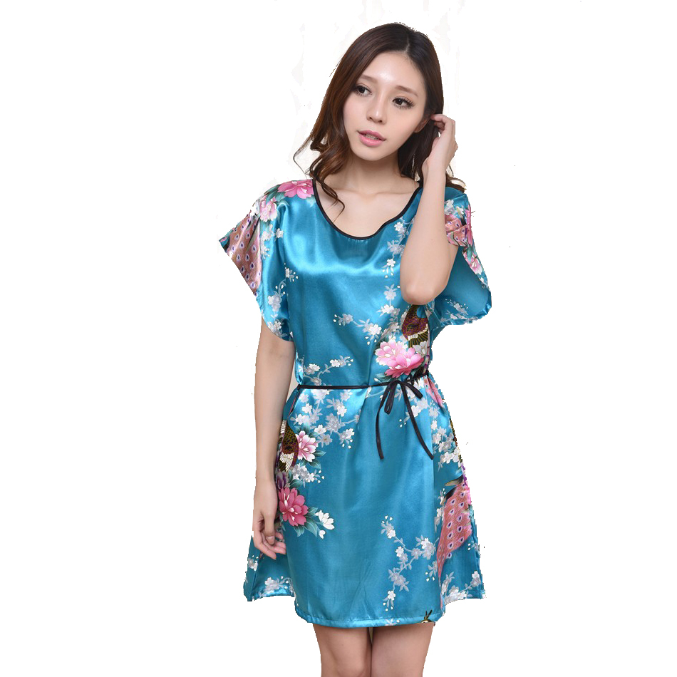 Printed Flower White Chinese Lady Silk Rayon Bath Robe Dress Sexy Mini Nightshirt Gown Summer Lounge Pijamas One Size