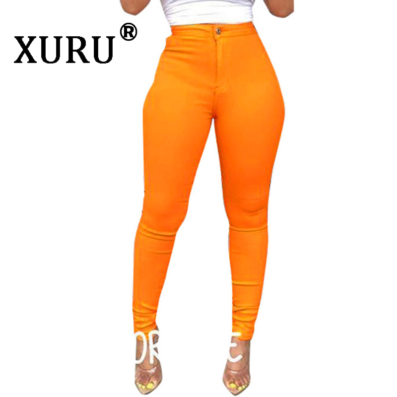 Xuru Summer New Women's Tight-Fitting Jeans Sexy High-Elastic Solid Color Casual Jeans Button Pull, Washed Pencil Jeans