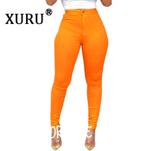 XURU summer new womens tight-fitting jeans sexy high-elastic solid color casual button pull, washed pencil